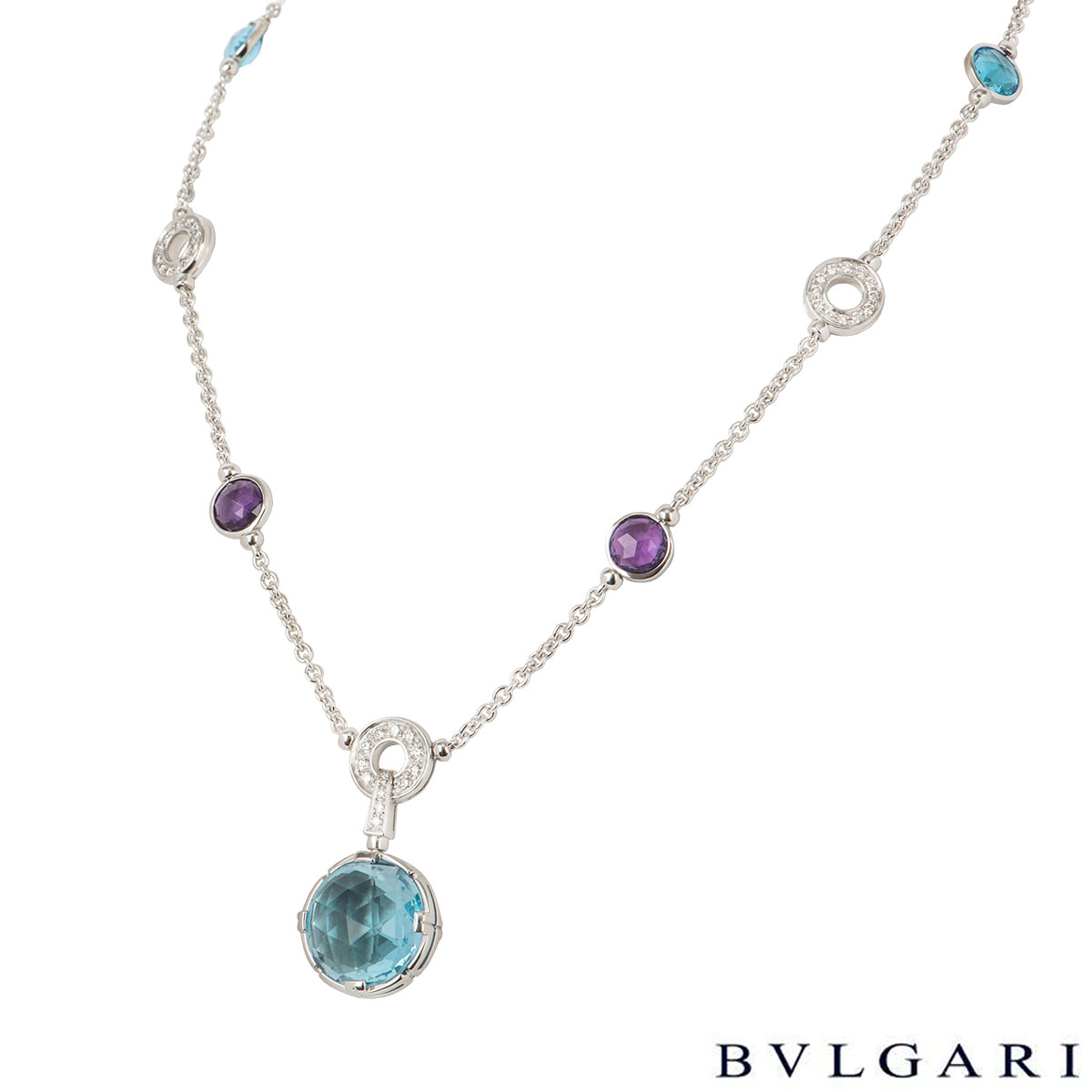 Bvlgari Parentesi White Gold Diamond And Multi-Gem Necklace